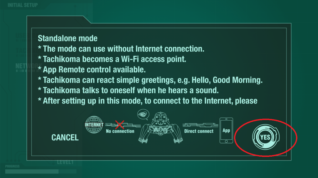 Using without an internet connection | Cerevo TACHIKOMA 1/8